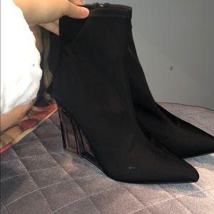 Fashion nova clear heel wedge booties
